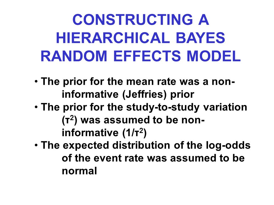 The prior for the mean rate was a non- informative (Jeffries) prior The prior for the study-to-study variation (τ 2 ) was assumed to be non- informative (1/τ 2 ) The expected distribution of the log-odds of the event rate was assumed to be normal CONSTRUCTING A HIERARCHICAL BAYES RANDOM EFFECTS MODEL
