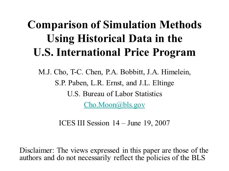 Comparison of Simulation Methods Using Historical Data in the U.S.