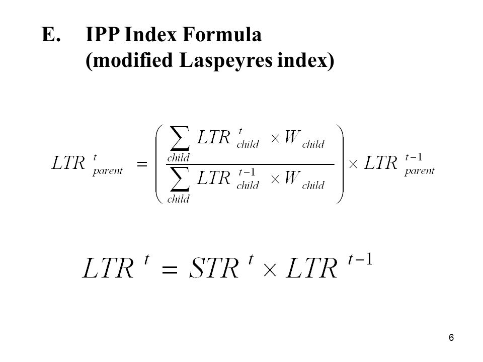6 E.IPP Index Formula (modified Laspeyres index)