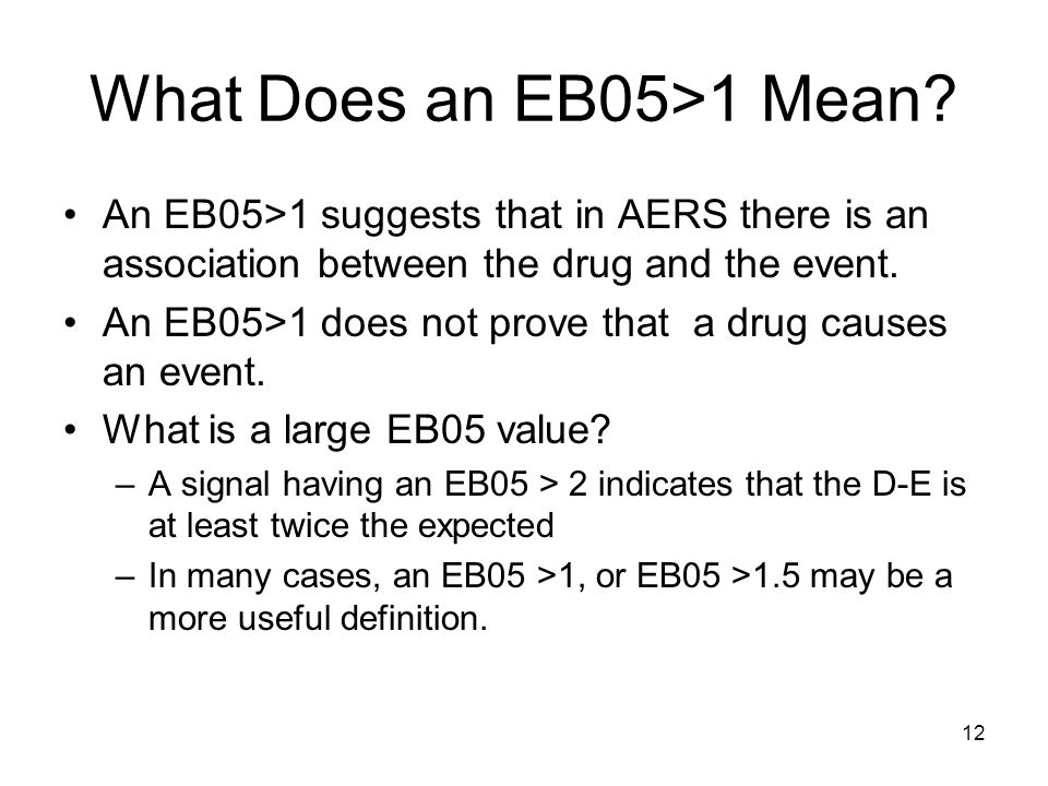 12 What Does an EB05>1 Mean? An EB05>1 suggests that in AERS there is an association between the drug and the event. An EB05>1 does not prove that a d
