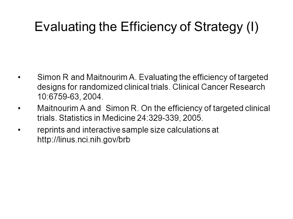 Evaluating the Efficiency of Strategy (I) Simon R and Maitnourim A.