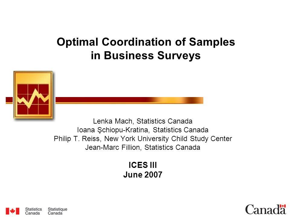Lenka Mach, Statistics Canada Ioana Şchiopu-Kratina, Statistics Canada Philip T.
