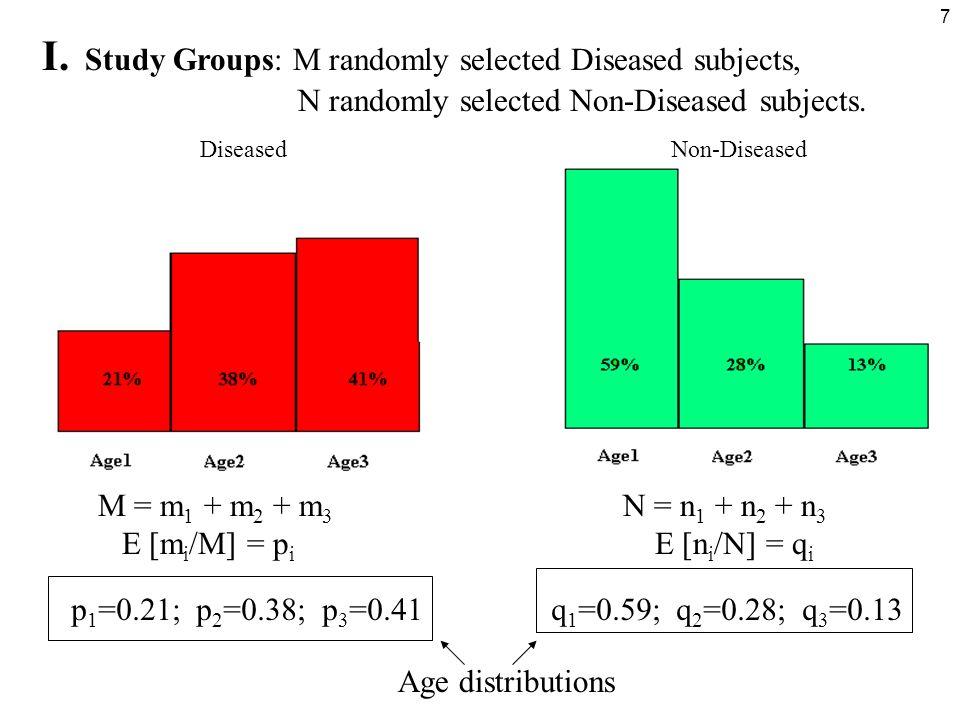 7 Age distributions I. Study Groups: M randomly selected Diseased subjects, N randomly selected Non-Diseased subjects. M = m 1 + m 2 + m 3 N = n 1 + n