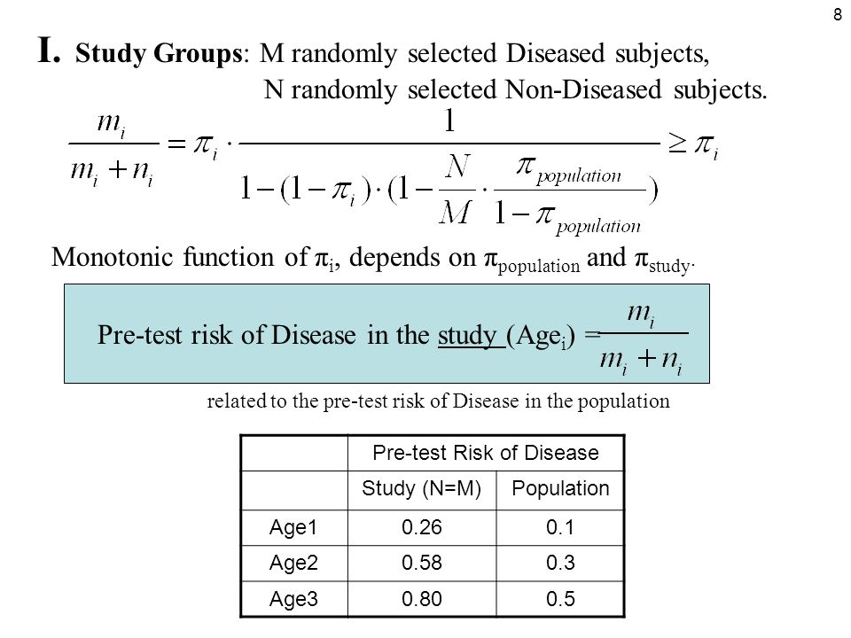 19 Weighted ROC Analysis (continued) This is equivalent to the calculation of AUC with all N Diseased subjects with weights d k /m k and with all M Non-Diseased subjects with weights d k /n k : The weighted ROC analysis is equivalent to consideration of all possible variants of age-matching with common age distribution φ.