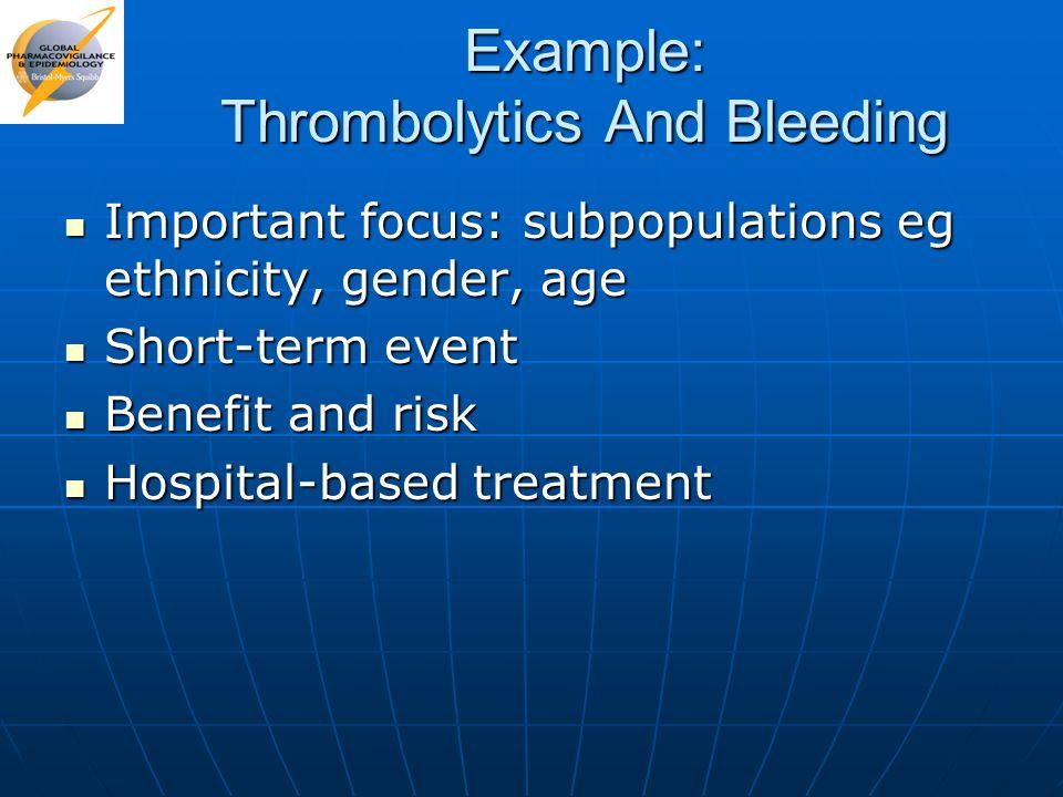 Example: Thrombolytics And Bleeding Important focus: subpopulations eg ethnicity, gender, age Important focus: subpopulations eg ethnicity, gender, ag