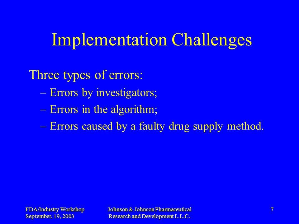 FDA/Industry Workshop September, 19, 2003 Johnson & Johnson Pharmaceutical Research and Development L.L.C.
