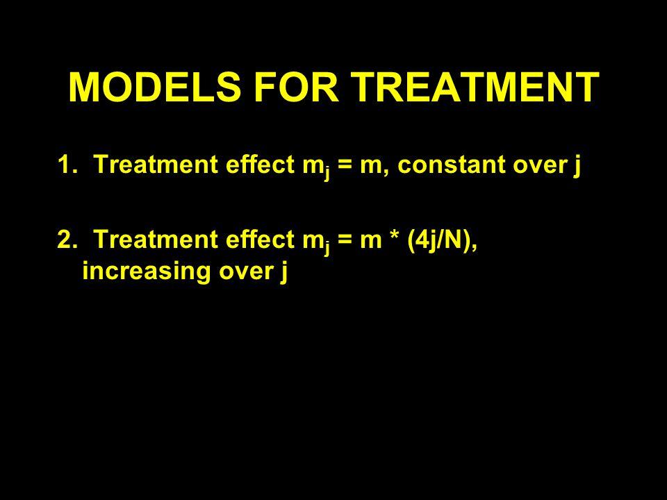 MODELS FOR TREATMENT 1. Treatment effect m j = m, constant over j 2. Treatment effect m j = m * (4j/N), increasing over j