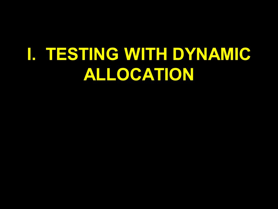 I. TESTING WITH DYNAMIC ALLOCATION