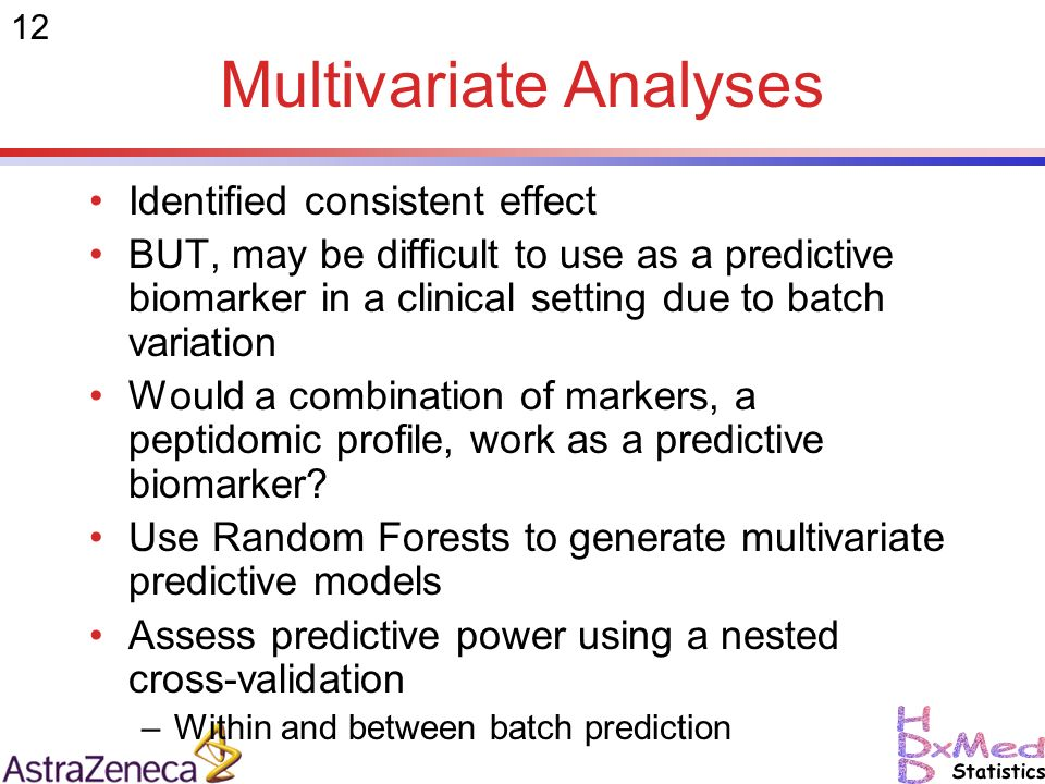 12 Multivariate Analyses Identified consistent effect BUT, may be difficult to use as a predictive biomarker in a clinical setting due to batch variation Would a combination of markers, a peptidomic profile, work as a predictive biomarker.