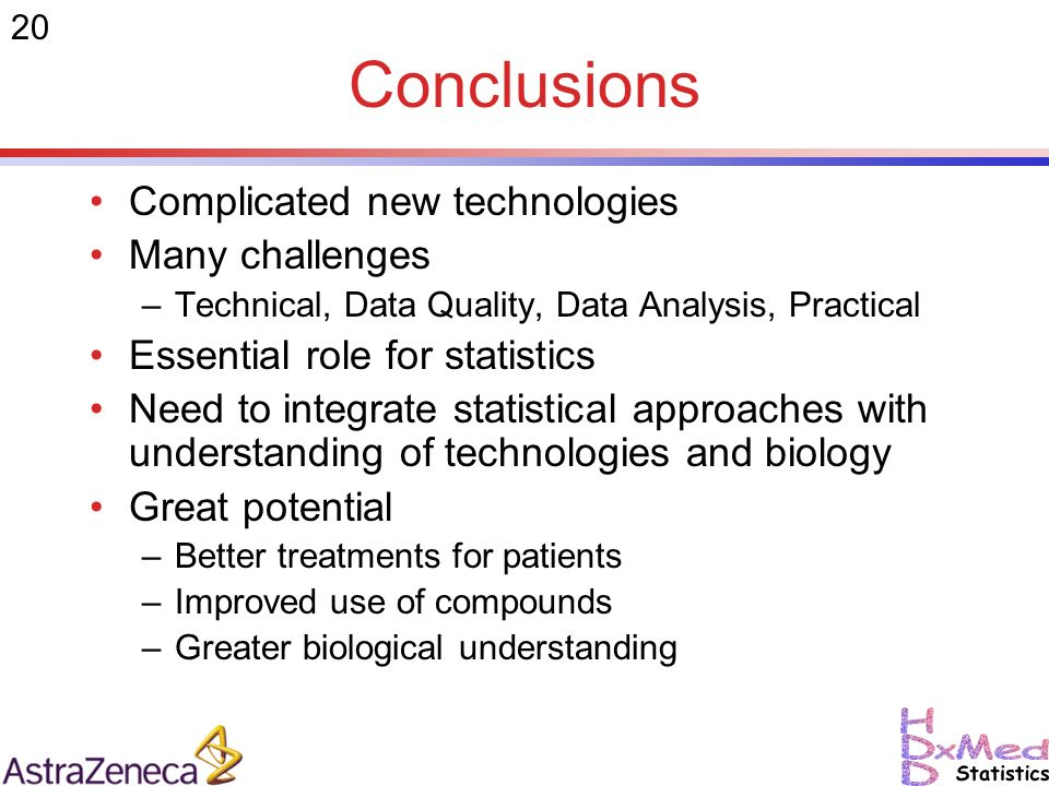 20 Conclusions Complicated new technologies Many challenges –Technical, Data Quality, Data Analysis, Practical Essential role for statistics Need to integrate statistical approaches with understanding of technologies and biology Great potential –Better treatments for patients –Improved use of compounds –Greater biological understanding