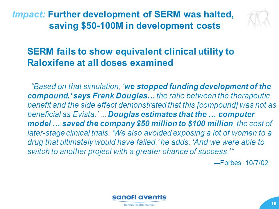 18 Impact: Further development of SERM was halted, saving $50-100M in development costs SERM fails to show equivalent clinical utility to Raloxifene at all doses examined Based on that simulation, we stopped funding development of the compound, says Frank Douglas… the ratio between the therapeutic benefit and the side effect demonstrated that this [compound] was not as beneficial as Evista.