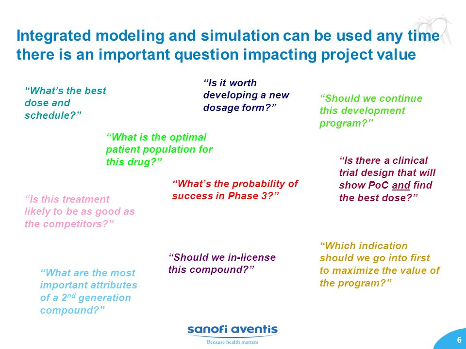 6 Integrated modeling and simulation can be used any time there is an important question impacting project value Whats the best dose and schedule? Is