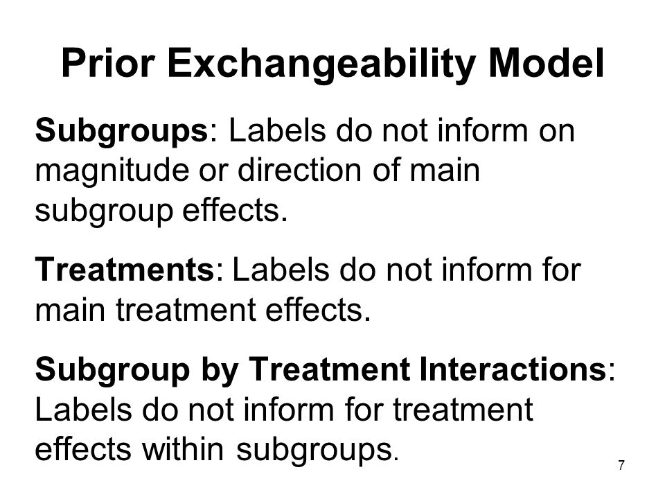 7 Prior Exchangeability Model Subgroups: Labels do not inform on magnitude or direction of main subgroup effects.