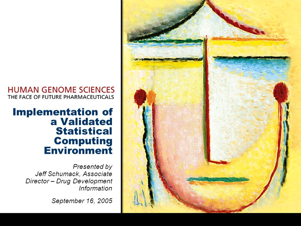 Implementation of a Validated Statistical Computing Environment Presented by Jeff Schumack, Associate Director – Drug Development Information September 16, 2005