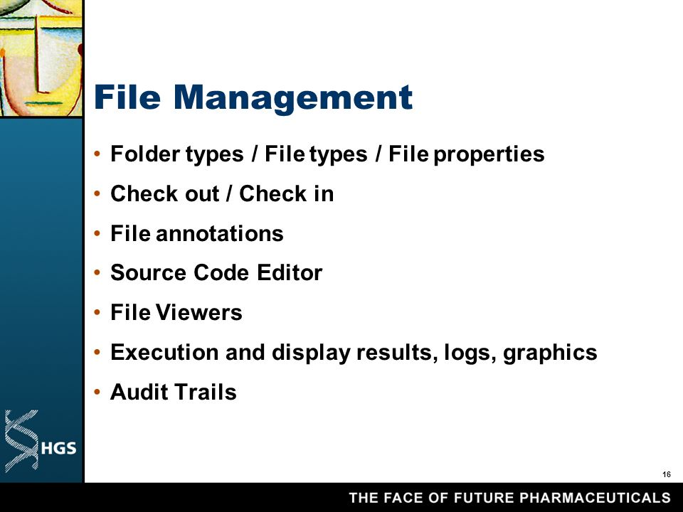 16 File Management Folder types / File types / File properties Check out / Check in File annotations Source Code Editor File Viewers Execution and display results, logs, graphics Audit Trails