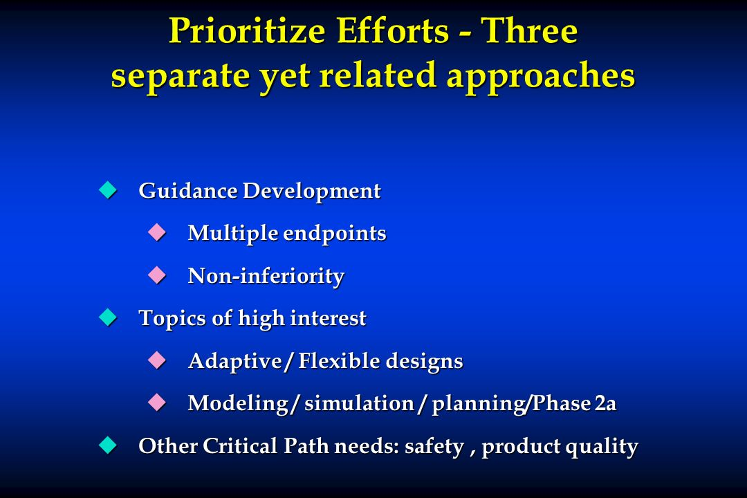 Prioritize Efforts - Three separate yet related approaches u Guidance Development u Multiple endpoints u Non-inferiority u Topics of high interest u A