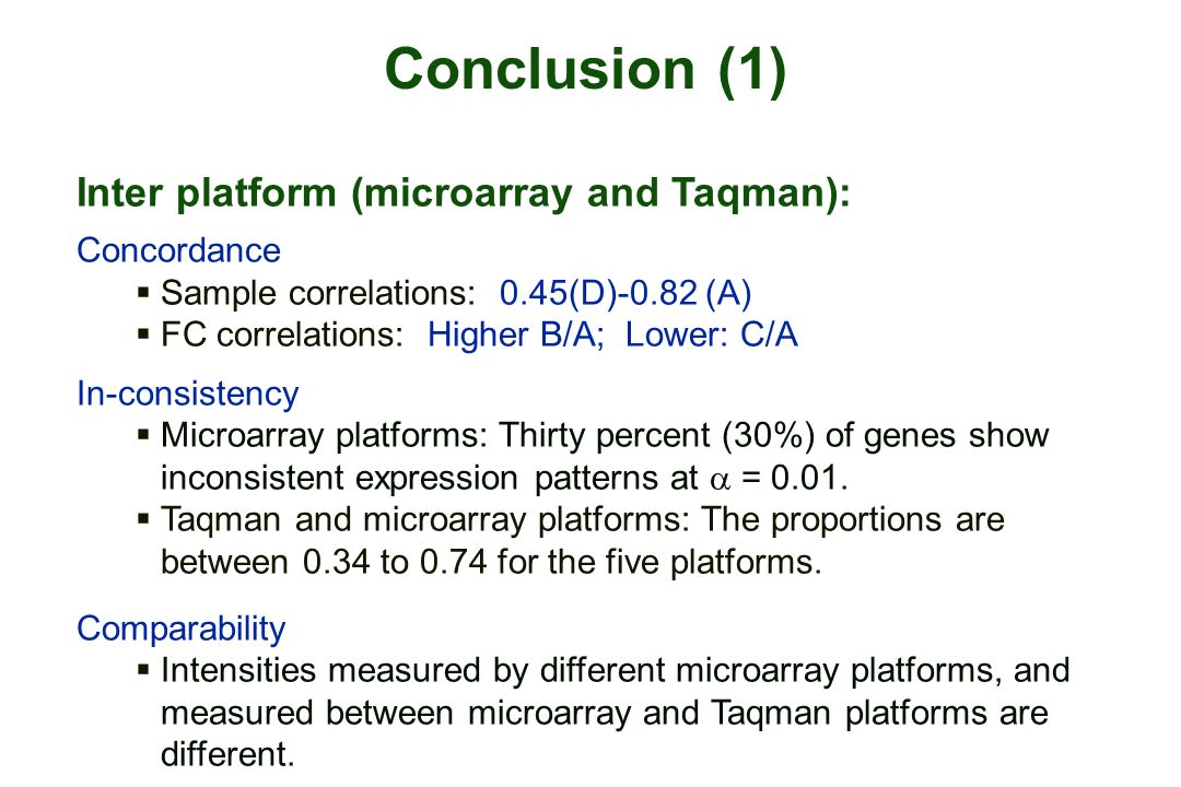 Conclusion (1) Inter platform (microarray and Taqman): Concordance Sample correlations: 0.45(D)-0.82 (A) FC correlations: Higher B/A; Lower: C/A In-consistency Microarray platforms: Thirty percent (30%) of genes show inconsistent expression patterns at = 0.01.