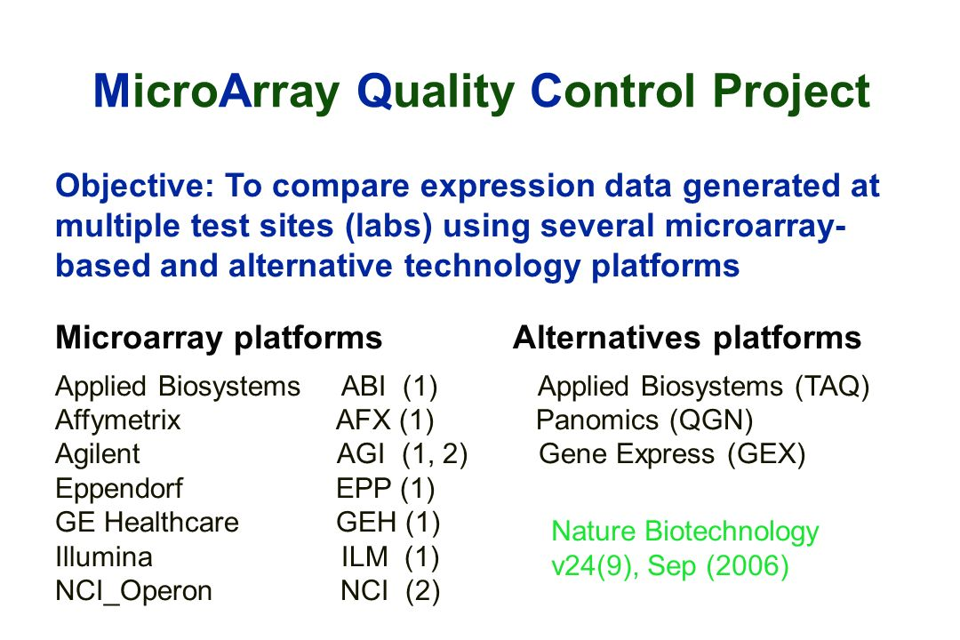 MicroArray Quality Control Project Objective: To compare expression data generated at multiple test sites (labs) using several microarray- based and alternative technology platforms Microarray platforms Alternatives platforms Applied Biosystems ABI (1) Applied Biosystems (TAQ) Affymetrix AFX (1) Panomics (QGN) Agilent AGI (1, 2) Gene Express (GEX) Eppendorf EPP (1) GE Healthcare GEH (1) Illumina ILM (1) NCI_Operon NCI (2) Nature Biotechnology v24(9), Sep (2006)