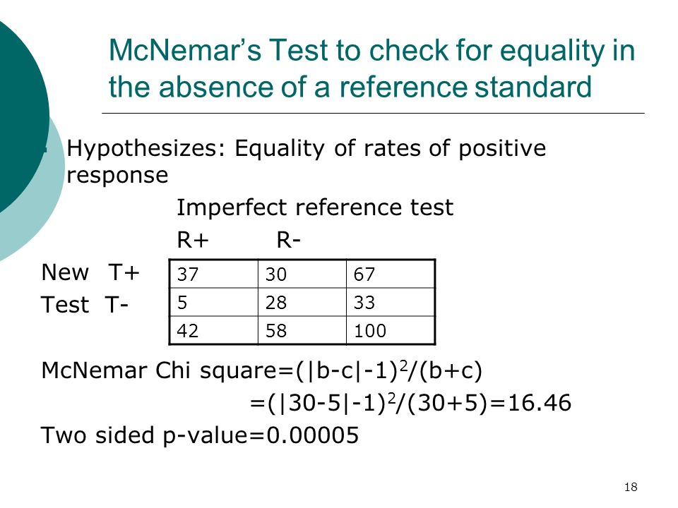18 McNemars Test to check for equality in the absence of a reference standard Hypothesizes: Equality of rates of positive response Imperfect reference