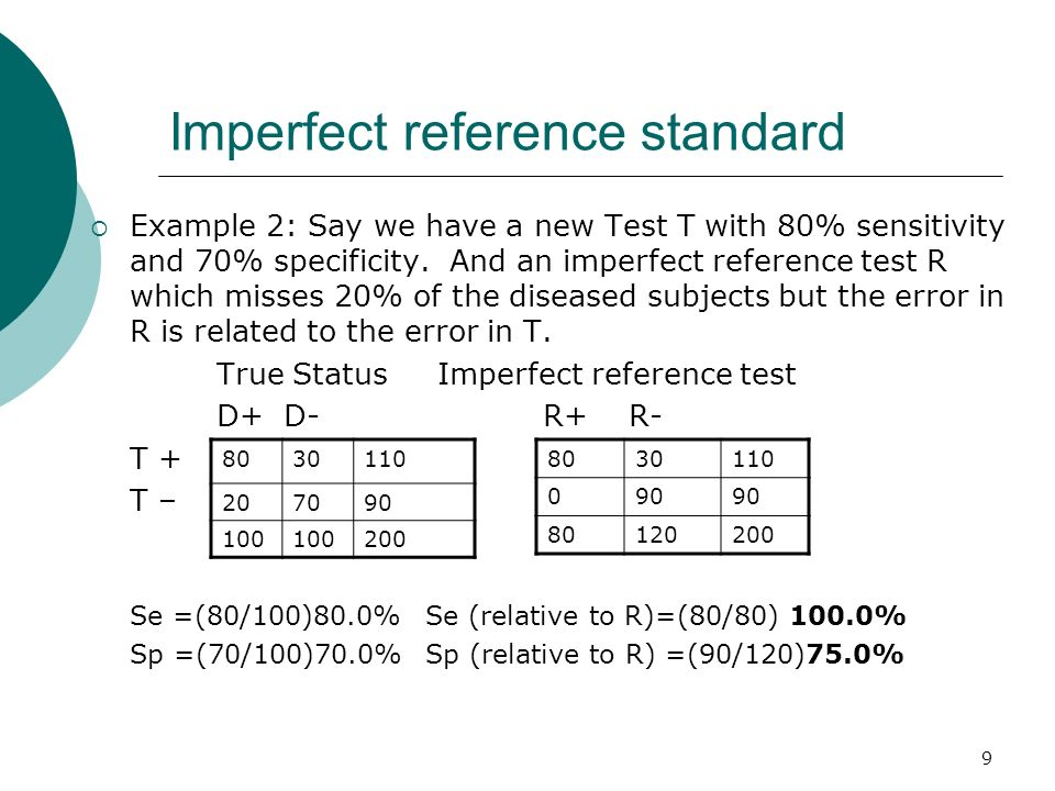 9 Imperfect reference standard Example 2: Say we have a new Test T with 80% sensitivity and 70% specificity. And an imperfect reference test R which m