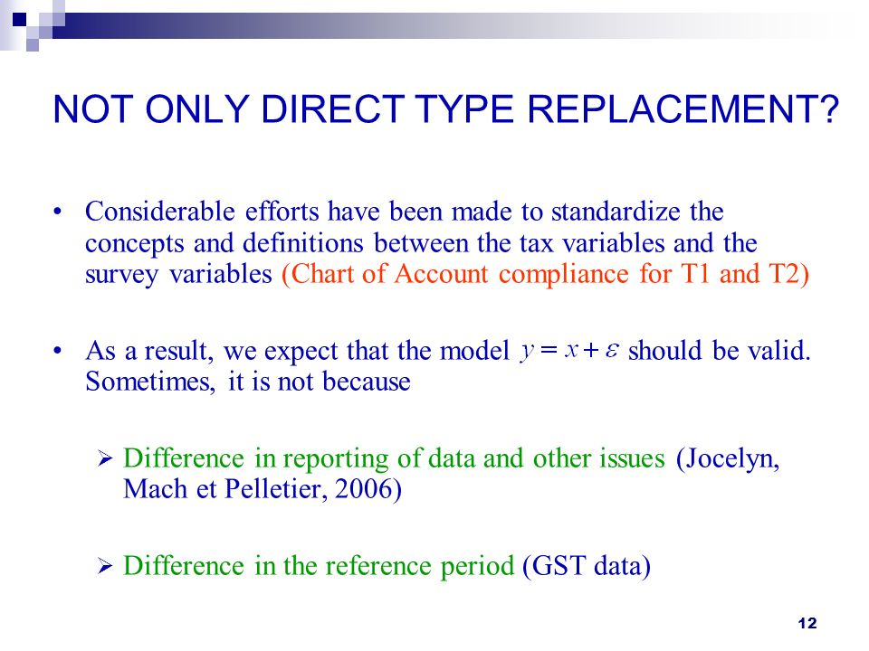 12 NOT ONLY DIRECT TYPE REPLACEMENT? Considerable efforts have been made to standardize the concepts and definitions between the tax variables and the