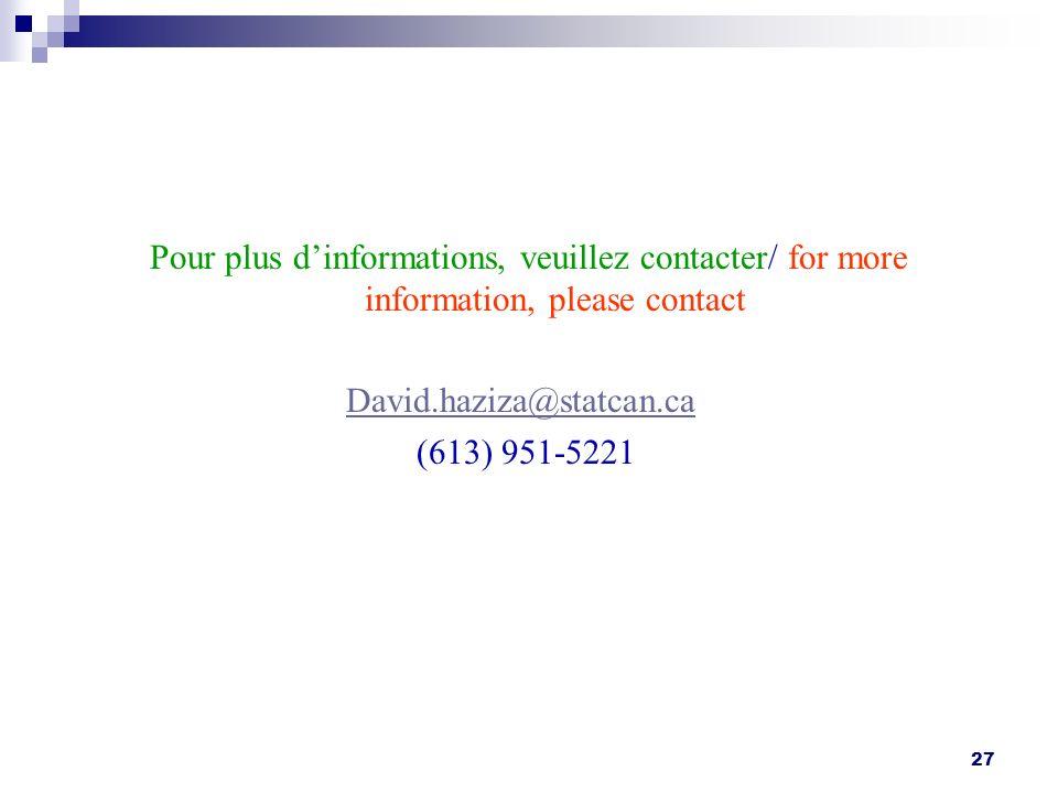 27 Pour plus dinformations, veuillez contacter/ for more information, please contact David.haziza@statcan.ca (613) 951-5221