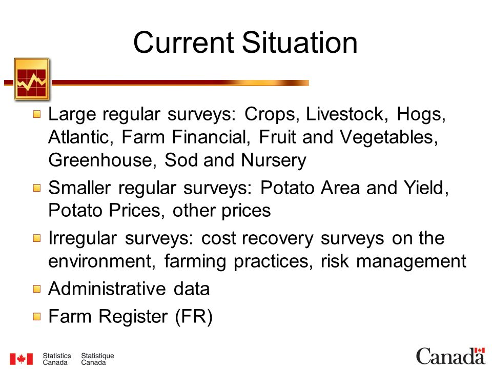 Current Situation Large regular surveys: Crops, Livestock, Hogs, Atlantic, Farm Financial, Fruit and Vegetables, Greenhouse, Sod and Nursery Smaller regular surveys: Potato Area and Yield, Potato Prices, other prices Irregular surveys: cost recovery surveys on the environment, farming practices, risk management Administrative data Farm Register (FR)