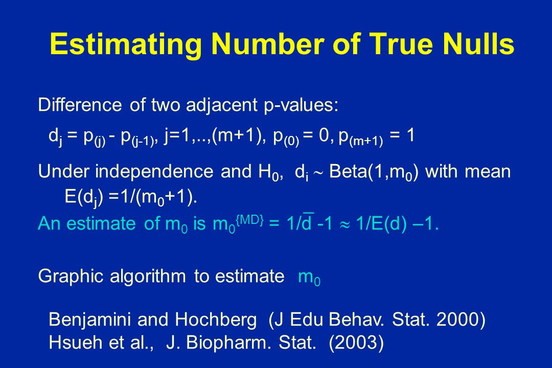 Estimating Number of True Nulls Difference of two adjacent p-values: d j = p (j) - p (j-1), j=1,..,(m+1), p (0) = 0, p (m+1) = 1 Under independence and H 0, d i Beta(1,m 0 ) with mean E(d j ) =1/(m 0 +1).