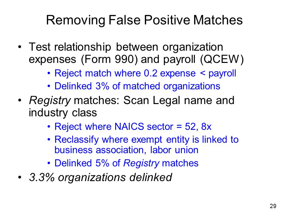 29 Removing False Positive Matches Test relationship between organization expenses (Form 990) and payroll (QCEW) Reject match where 0.2 expense < payroll Delinked 3% of matched organizations Registry matches: Scan Legal name and industry class Reject where NAICS sector = 52, 8x Reclassify where exempt entity is linked to business association, labor union Delinked 5% of Registry matches 3.3% organizations delinked