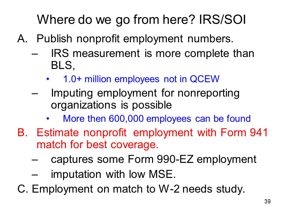 39 Where do we go from here. IRS/SOI A.Publish nonprofit employment numbers.