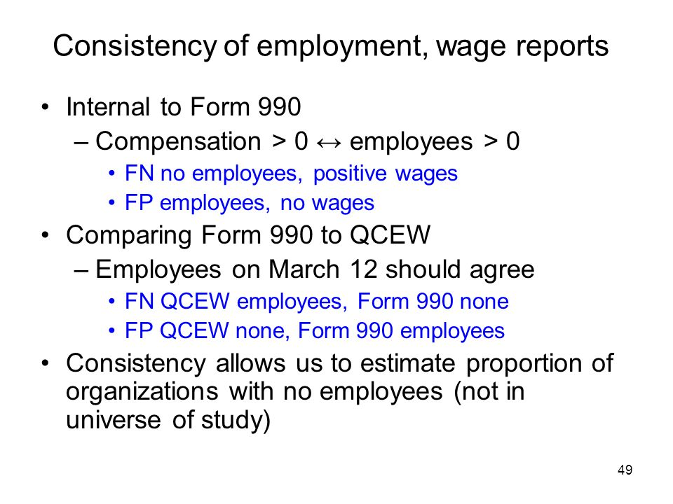 49 Consistency of employment, wage reports Internal to Form 990 –Compensation > 0 employees > 0 FN no employees, positive wages FP employees, no wages Comparing Form 990 to QCEW –Employees on March 12 should agree FN QCEW employees, Form 990 none FP QCEW none, Form 990 employees Consistency allows us to estimate proportion of organizations with no employees (not in universe of study)