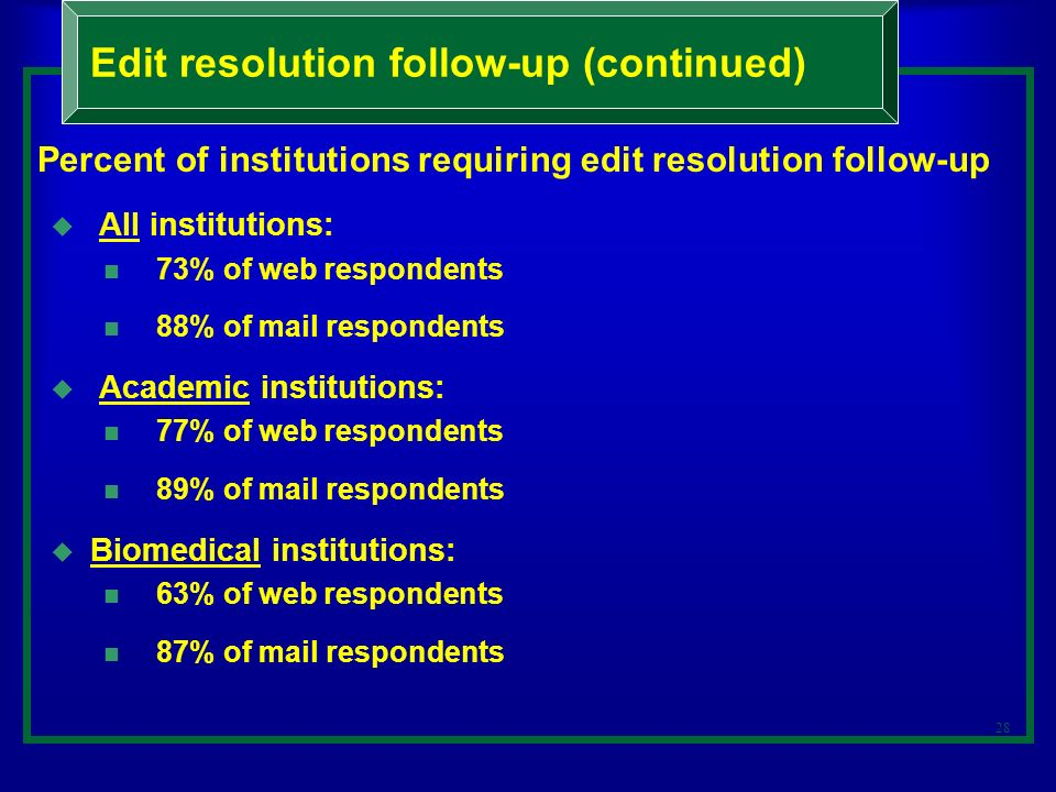 28 Percent of institutions requiring edit resolution follow-up All institutions: 73% of web respondents 88% of mail respondents Academic institutions: 77% of web respondents 89% of mail respondents Biomedical institutions: 63% of web respondents 87% of mail respondents Edit resolution follow-up (continued)