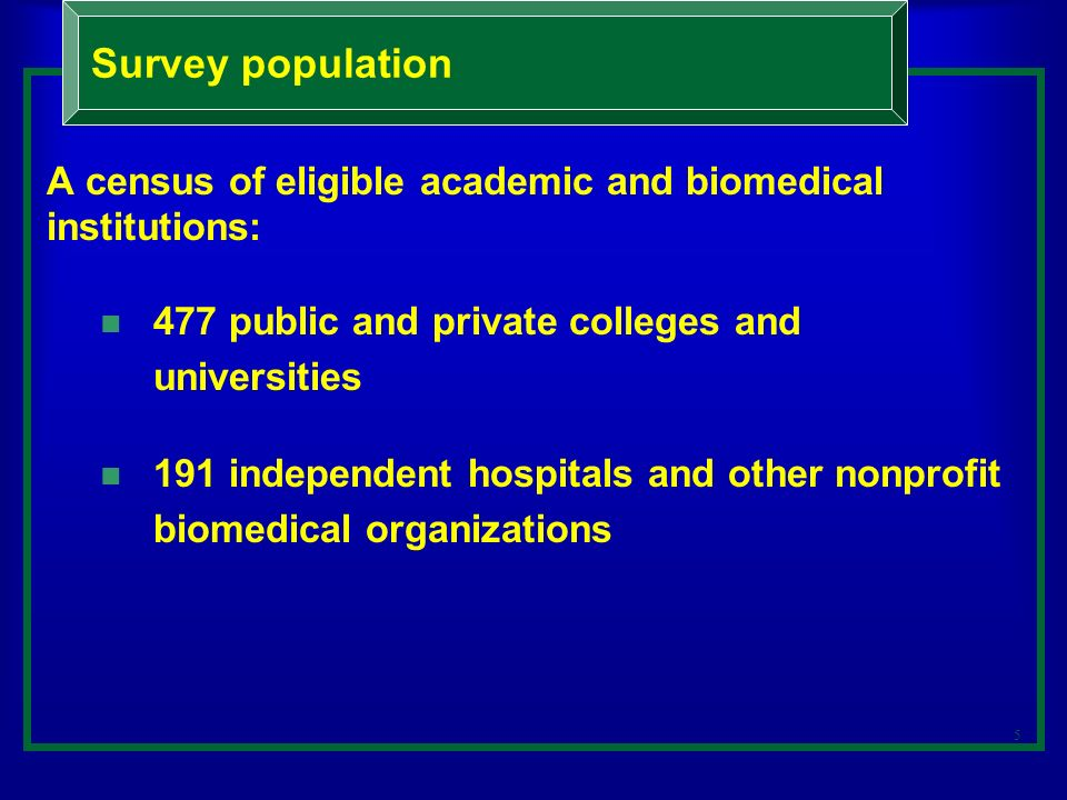 5 A census of eligible academic and biomedical institutions: 477 public and private colleges and universities 191 independent hospitals and other nonprofit biomedical organizations Survey population
