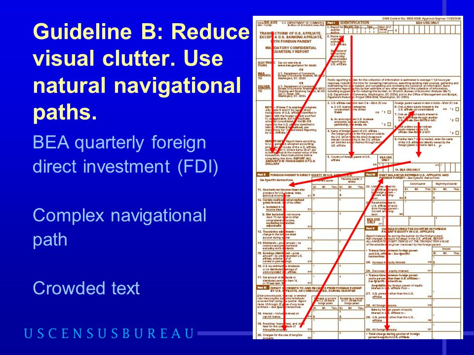 44 Guideline B: Reduce visual clutter. Use natural navigational paths.