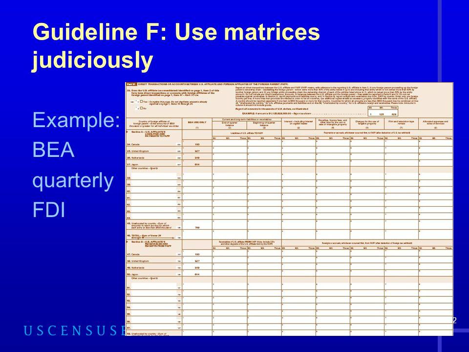52 Guideline F: Use matrices judiciously Example: BEA quarterly FDI
