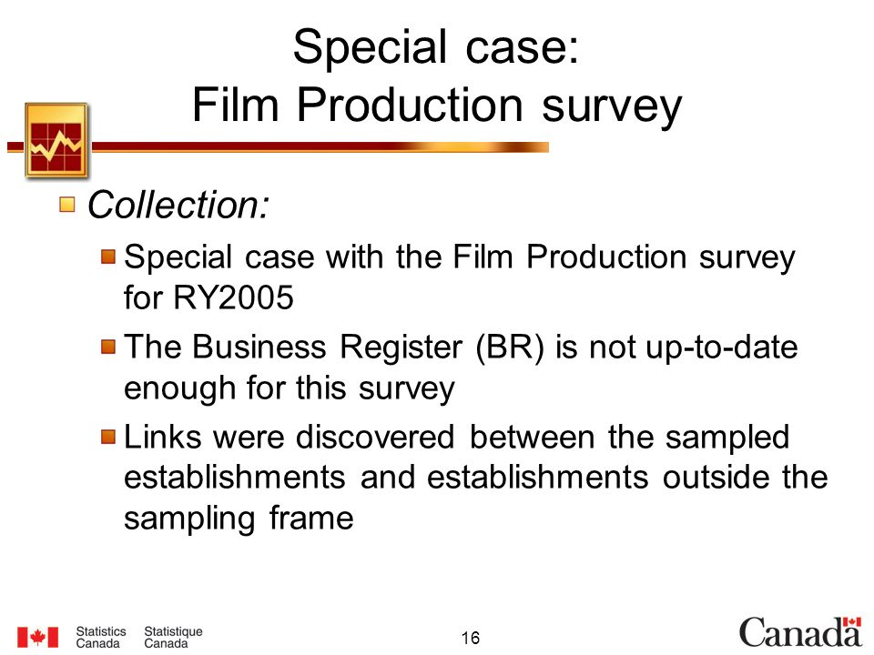 16 Special case: Film Production survey Collection: Special case with the Film Production survey for RY2005 The Business Register (BR) is not up-to-date enough for this survey Links were discovered between the sampled establishments and establishments outside the sampling frame