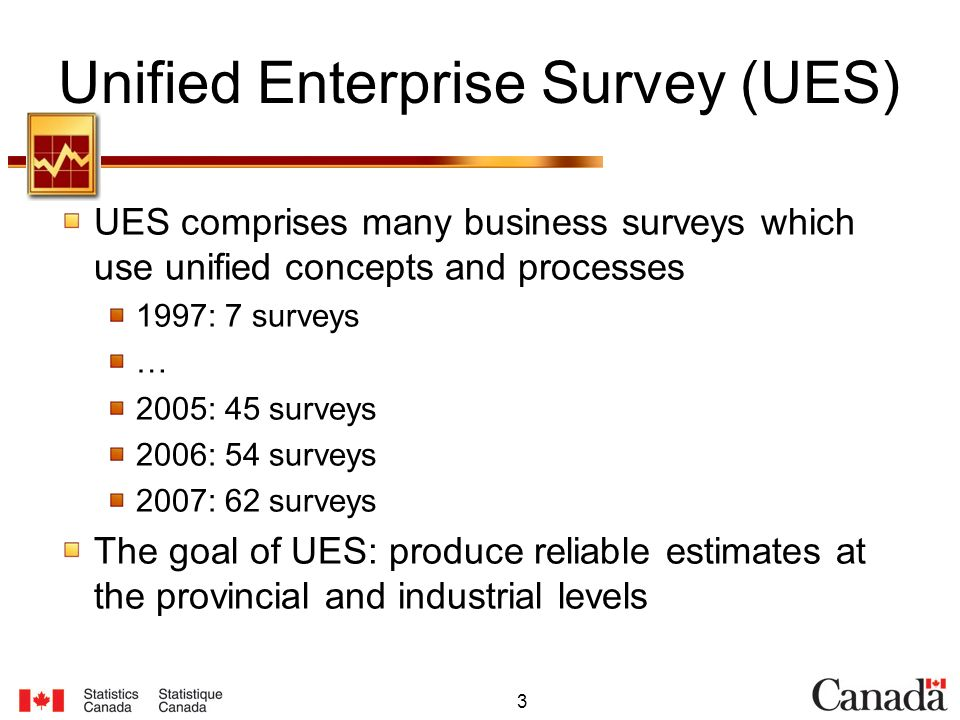 3 Unified Enterprise Survey (UES) UES comprises many business surveys which use unified concepts and processes 1997: 7 surveys … 2005: 45 surveys 2006: 54 surveys 2007: 62 surveys The goal of UES: produce reliable estimates at the provincial and industrial levels