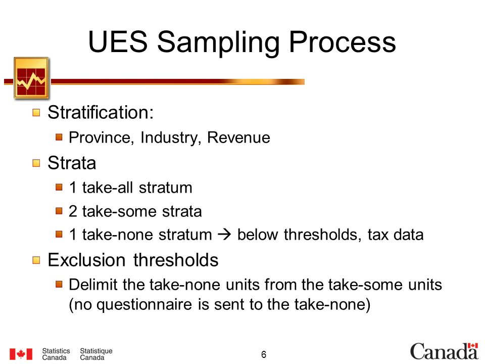 6 UES Sampling Process Stratification: Province, Industry, Revenue Strata 1 take-all stratum 2 take-some strata 1 take-none stratum below thresholds,