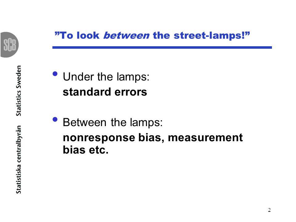 2 To look between the street-lamps! Under the lamps: standard errors Between the lamps: nonresponse bias, measurement bias etc.