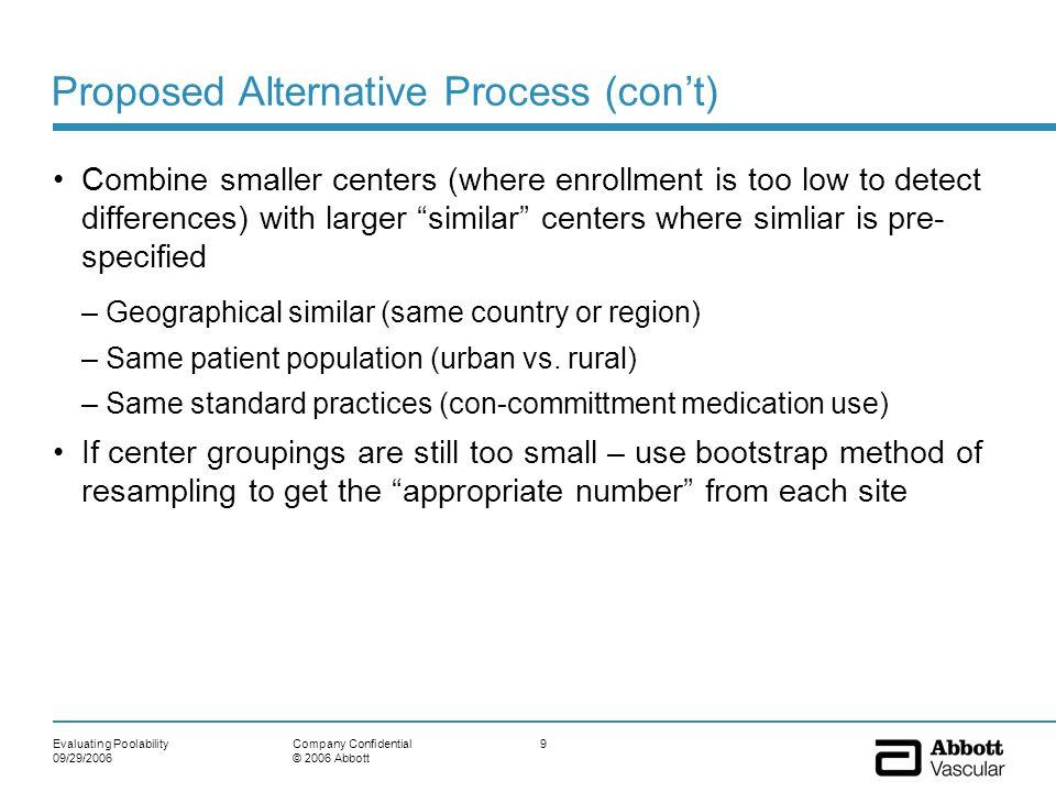 Evaluating Poolability 09/29/2006 9Company Confidential © 2006 Abbott Proposed Alternative Process (cont) Combine smaller centers (where enrollment is