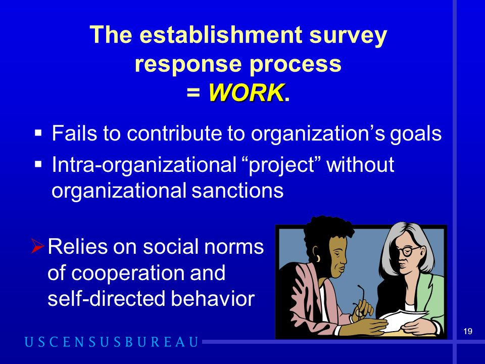19 WORK The establishment survey response process = WORK. Fails to contribute to organizations goals Intra-organizational project without organization