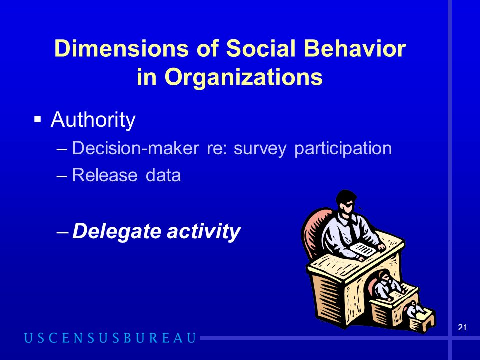 21 Dimensions of Social Behavior in Organizations Authority –Decision-maker re: survey participation –Release data –Delegate activity