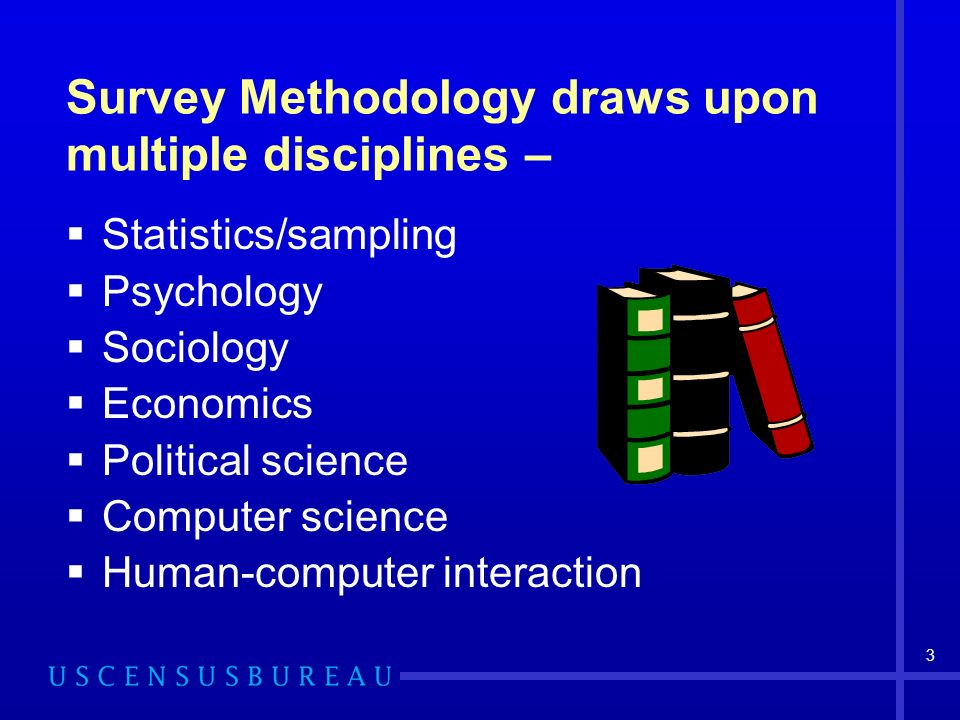 3 Survey Methodology draws upon multiple disciplines – Statistics/sampling Psychology Sociology Economics Political science Computer science Human-computer interaction