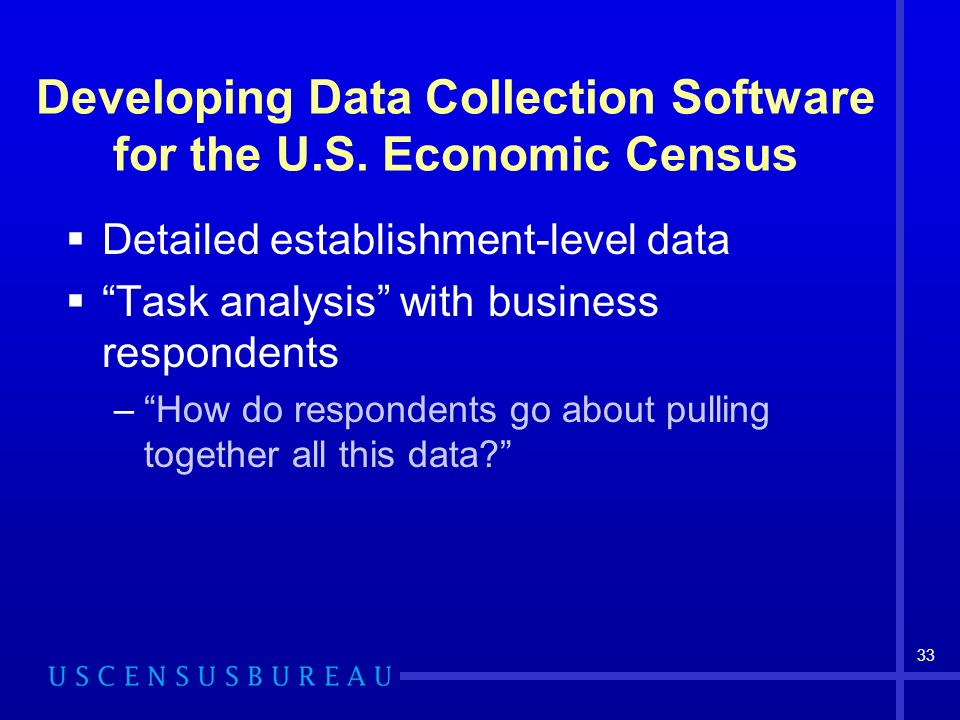 33 Developing Data Collection Software for the U.S.