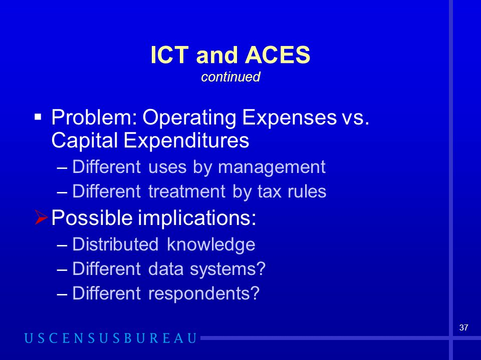 37 ICT and ACES continued Problem: Operating Expenses vs.