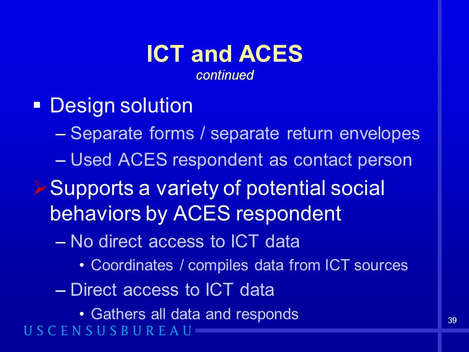 39 ICT and ACES continued Design solution –Separate forms / separate return envelopes –Used ACES respondent as contact person Supports a variety of potential social behaviors by ACES respondent –No direct access to ICT data Coordinates / compiles data from ICT sources –Direct access to ICT data Gathers all data and responds