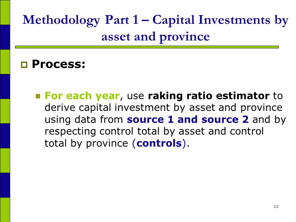 13 Methodology Part 1 – Capital Investments by asset and province Process: For each year, use raking ratio estimator to derive capital investment by asset and province using data from source 1 and source 2 and by respecting control total by asset and control total by province (controls).