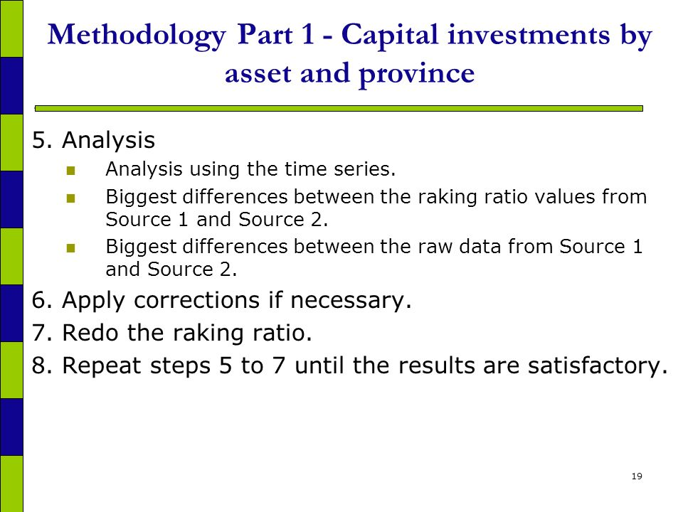 19 Methodology Part 1 - Capital investments by asset and province 5.