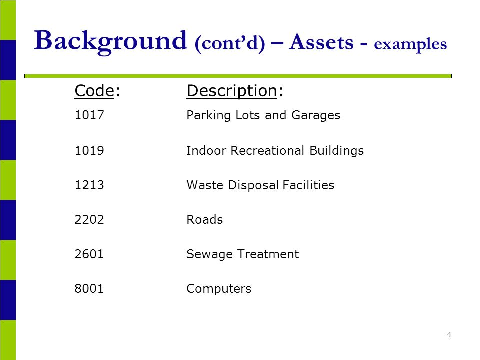 4 Background (contd) – Assets - examples Code:Description: 1017Parking Lots and Garages 1019Indoor Recreational Buildings 1213Waste Disposal Facilities 2202Roads 2601Sewage Treatment 8001Computers