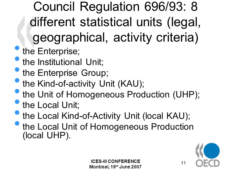 ICES-III CONFERENCE Montreal, 19 th June 2007 11 Council Regulation 696/93: 8 different statistical units (legal, geographical, activity criteria) the Enterprise; the Institutional Unit; the Enterprise Group; the Kind-of-activity Unit (KAU); the Unit of Homogeneous Production (UHP); the Local Unit; the Local Kind-of-Activity Unit (local KAU); the Local Unit of Homogeneous Production (local UHP).